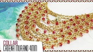 getlinkyoutube.com-Cómo hacer collar con murano rojo y cadena | VARIEDADES CAROL Kit 26282