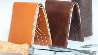 getlinkyoutube.com-making men's half wallet, leather craft how to make