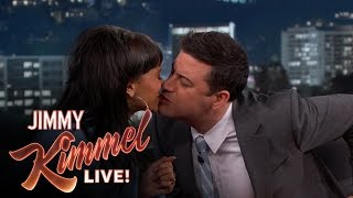 getlinkyoutube.com-Jimmy Kimmel and Rihanna take the Twizzler Challenge for Autism Awareness Month