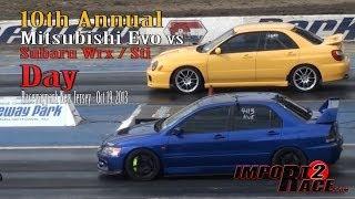 getlinkyoutube.com-10th annual Mitsubishi EVO vs Subaru Wrx/Sti day