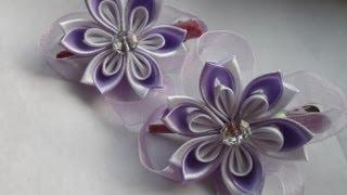 getlinkyoutube.com-hand made Заколочки для маленькой принцессы Канзаши kanzashi