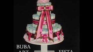 getlinkyoutube.com-Como Fazer 1 Lindo Bolo de Fraldas - fake cake diaper