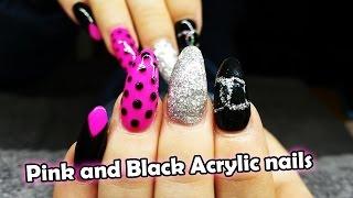 getlinkyoutube.com-Hot pink and Black Acrylic Nail Design