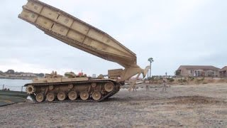 getlinkyoutube.com-Amazing Tank Launched Bridge - M60 Armoured Vehicle-Launched Bridge (AVLB) in Action