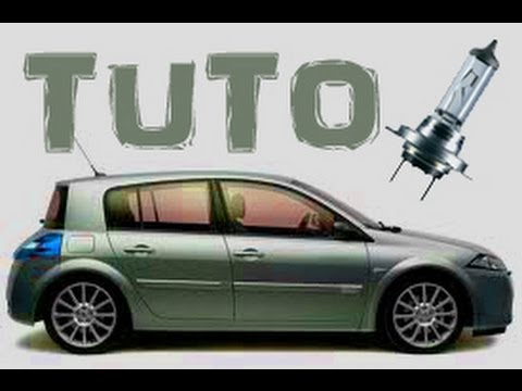TUTO changer l'ampoule d'un feux de croisement Renault Megane 2 (how to change dipped headlight) HD