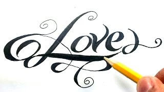 getlinkyoutube.com-Como dibujar la palabra love paso a paso - (How to draw love in letters) Love en cursiva