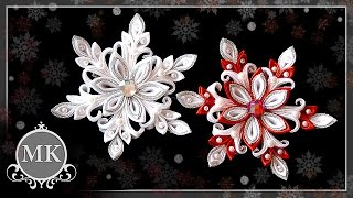 getlinkyoutube.com-Нежная снежинка. Канзаши. Мастер-класс. / Delicate snowflake. Kanzashi. Master class.