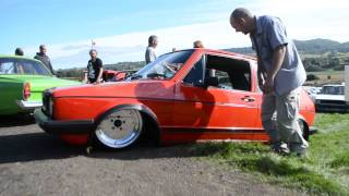 getlinkyoutube.com-Pipey McGraw || Worlds Lowest VW Golf Mk1 || Retro Rides Gathering 2014
