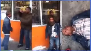 getlinkyoutube.com-Bully Picks On A Homeless Man And Gets Chocked out Cold Lol