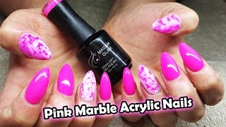 getlinkyoutube.com-Bright Barbie Pink | Water colour nail | Madam Glam gel polish