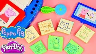 getlinkyoutube.com-Play Doh Peppa Pig Sticker Dispenser How To Make Peppa Pig Playdough MLP Stampers