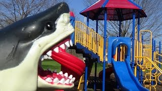 "getlinkyoutube.com-Shark Attacks Girl At Playground ""Sharknado Season, Watchout"" Mega & Great White Shark Toys"