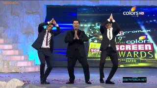 getlinkyoutube.com-Siddharth Malhotra, Varun Dhawan & Karan Johar's masti on 19th Colors Screen Awards 2013