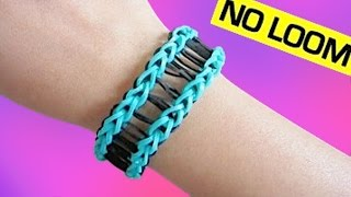 getlinkyoutube.com-Railroad Rainbow Loom Bracelet without Loom/ using 2 Forks