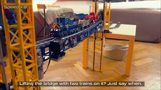 getlinkyoutube.com-Lego Trains Railway Lift Bridge and CRASH