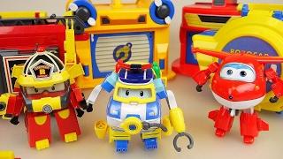 getlinkyoutube.com-RoboCar Poli and SuperWings car toys fire truck police car airplane center