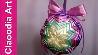 getlinkyoutube.com-Bombka karczochowa (ribbon bauble)