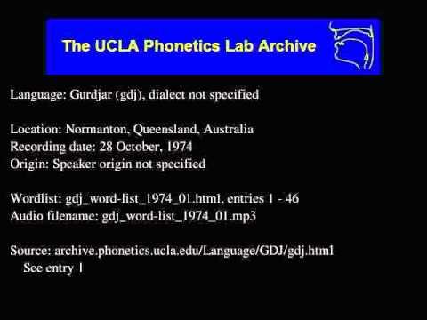 Gurdjar audio: gdj_word-list_1974_01