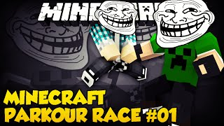 Minecraft Parkour Race #1 - OS TROLLS !! - Ft.AuthenticGames