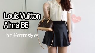 getlinkyoutube.com-Louis Vuitton Alma BB Review,LookBook,Modelling shots,What it looks like in different styles?
