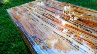 getlinkyoutube.com-Super High Gloss Table from Tree Limb Repurposing Reclaiming prepper Woodworking UV CURE RESIN