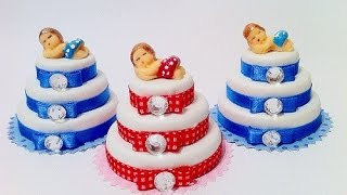 Lembrancinhas de tampas de garrafa PET - mini bolo