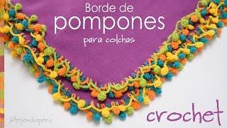 getlinkyoutube.com-Borde de pompones de colores tejido a crochet para colchas de bebe! - Crocheted pom poms edge!