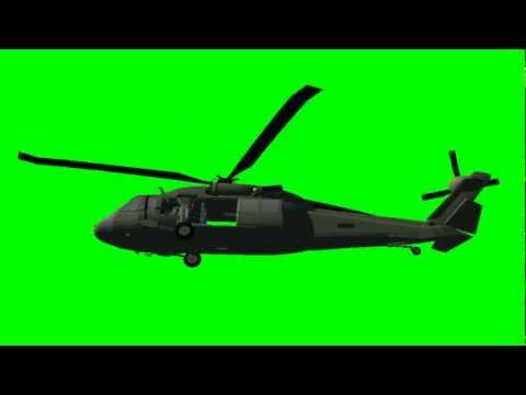 Black Hawk fly with sound - free green screen