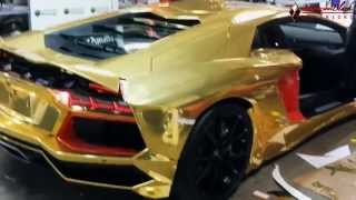 "getlinkyoutube.com-Lamborghini Aventadoor LP700 Gold Chrome Wrap by DBX aka ""King Of the Wraps"""