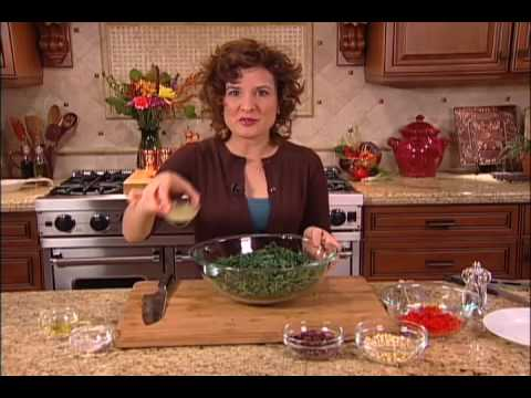 Mediterranean Kale - An Easy To Make Raw Food Recipe With Pine Nuts &amp; Olives