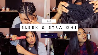 getlinkyoutube.com-HOW TO: SLEEK & STRAIGHT HAIR FT. DOLCE BRAZILIAN BODYWAVE HAIR  | Mary Elizabeth