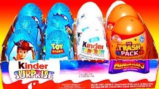 getlinkyoutube.com-12 Surprise Eggs Toy Story Kinder Surprise Eggs Unboxing Disney Pixar Easter Madagascar 3 Trash Pack