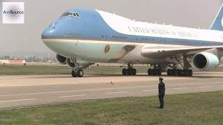 Air Force One Boeing 747 Lands at Osan Air Base, Korea.