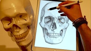 getlinkyoutube.com-Apple Pencil drawing - HOW TO DRAW A SKULL - iPad Pro art tutorial in Procreate