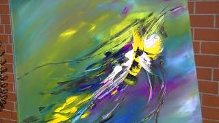 getlinkyoutube.com-Abstract Painting Demonstration Abstrakte Acrylmalerei Bumblebee at Springtime
