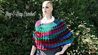 getlinkyoutube.com-CROCHET How To #Crochet Easy Ladies V Stitch Shawl Cape Wrap TUTORIAL #346