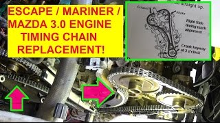 getlinkyoutube.com-Ford Escape Mazda Tribute Mercury Mariner Timing Chain Replacement and Timing Marks