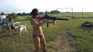 getlinkyoutube.com-Girl in a Bikini Shooting Suppressed Sub Machine Gun M11/9