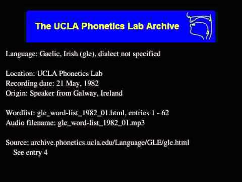 Gaelic, Irish audio: gle_word-list_1982_01
