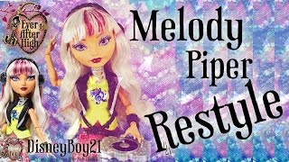 getlinkyoutube.com-Ever After High Melody Piper Doll Hair Restyle Tutorial - How To Curl Doll Hair