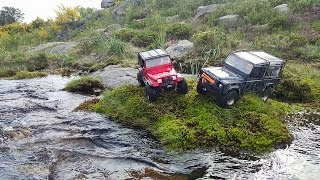 getlinkyoutube.com-RCModelex Jeep YJ vs RC4WD Defender D90 - Rocks and Water Trail