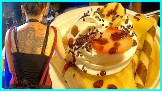 getlinkyoutube.com-Japanese Sexy Tattoo Street Food - Strawberry Banana Oreo Cookie Ice Cream Crepe