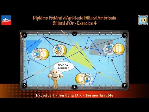 Diplôme Fédéral d'Aptitude Billard Américain - Billard d'Or - DFA3 BA - Exercice 4