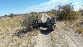 getlinkyoutube.com-Motorbike travel in Botswana, suffering the Sand
