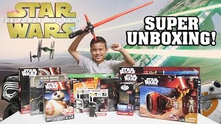 getlinkyoutube.com-STAR WARS Super TOY Unboxing!!! The Force Awakens Surprise Box!