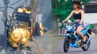 getlinkyoutube.com-Smallbike V-TWIN Engine conversion by BACKYARD MECHANiCS