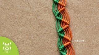 getlinkyoutube.com-Pulsera Zig-zag de Macramé Cavandoli: Diseño sencillo.