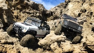 "getlinkyoutube.com-RC4WD Defender D90 & Axial SCX10 Jeep Rubicon Trailing At ""The Pit"""