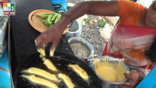 getlinkyoutube.com-Street Food - Mirchi Bajji - South Indian Special Food - Green Chill Bada