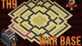 getlinkyoutube.com-Clash Of Clans - EPIC TH9 WAR BASE - WITH REPLAY - AIR SWEEPER